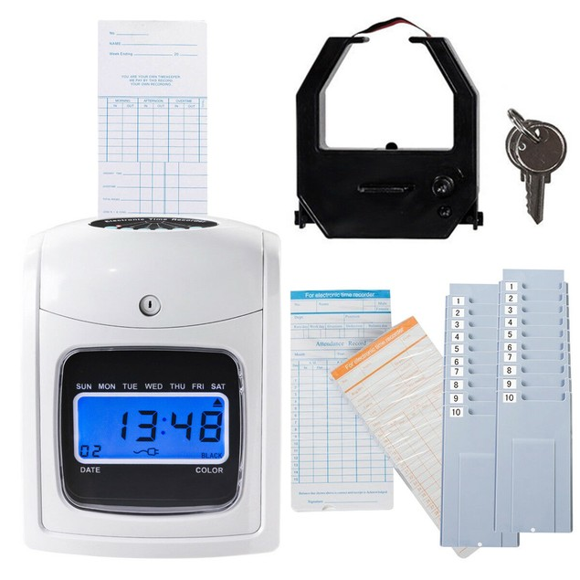 Costway Electronic Recorder Time Punch Clock LCD Display w Cards Holders Of