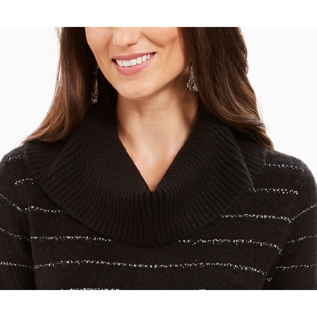 Style & Co Women's Lurex Cowl-Neck Sweater  Black Size Small