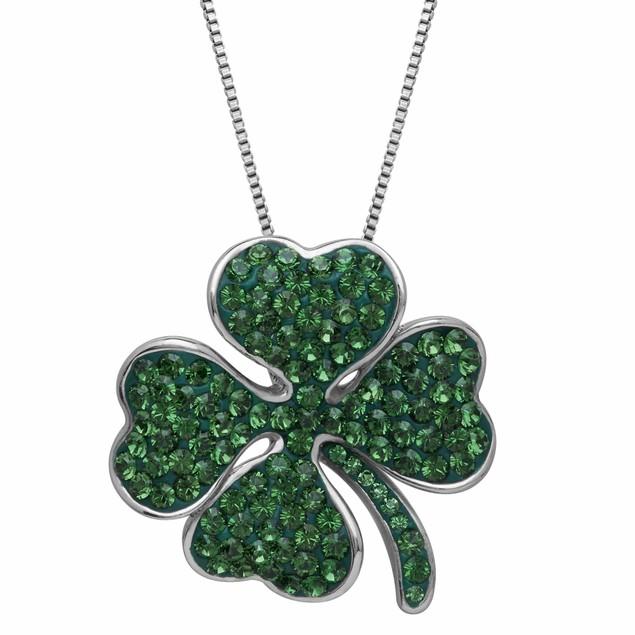 Crystal Leaf Drop Necklace