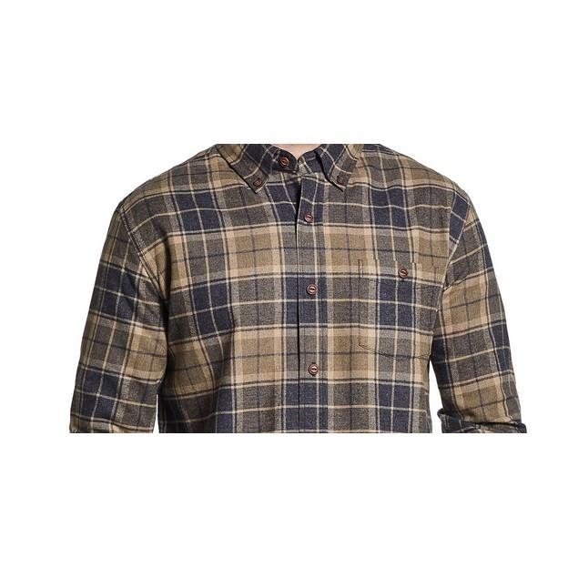 Weather proof Vintage Men's Brushed Flannel Plaid Shirt Cocoa Size Regular