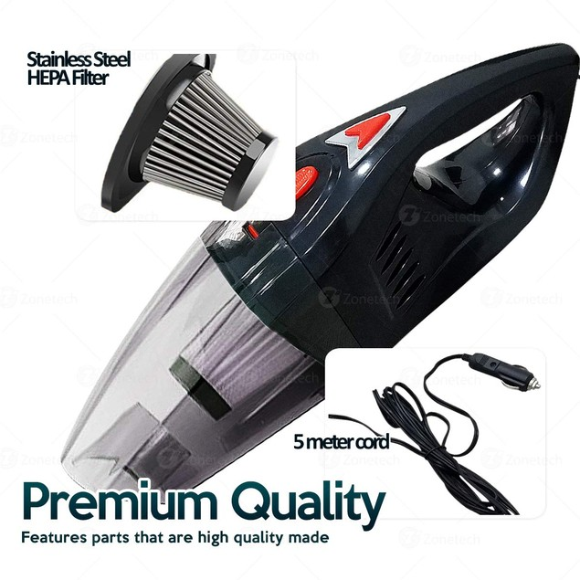 Zone Tech Portable 12V Dust Handheld Vacuum Dirt Cleaner Wet & Dry 5 Nozzle