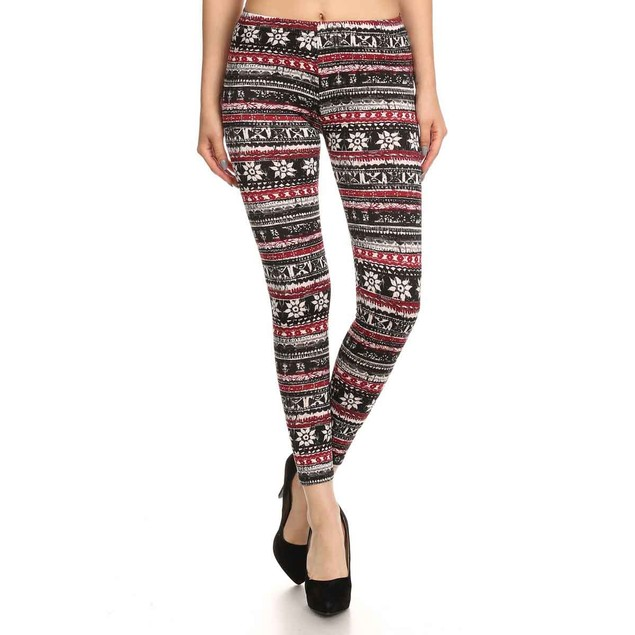 5-Pack Women's Fleece Lined Holiday Themed Printed Leggings