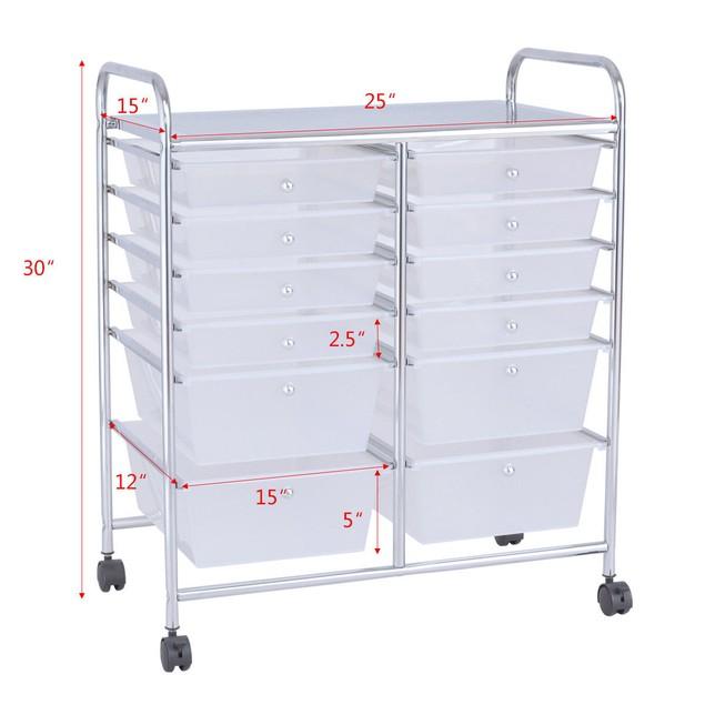 Costway 12 Drawer Rolling Storage Cart Scrapbook Paper Office School Organi