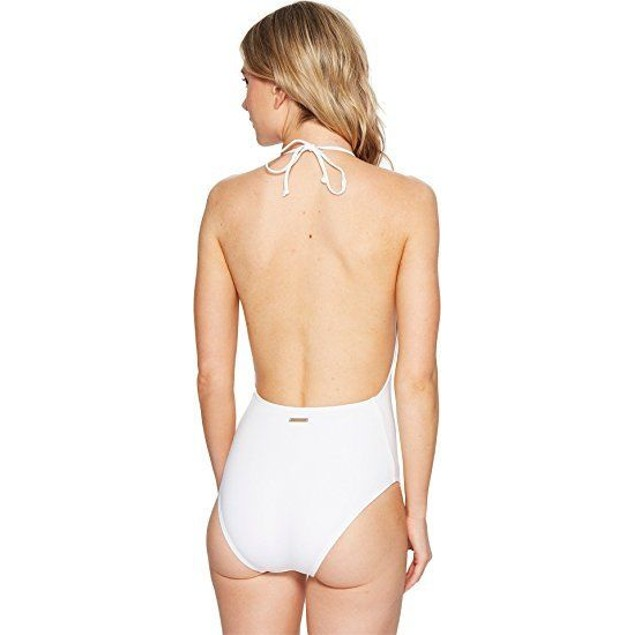 Vince Camuto Women's Hardware High Neck Plunge One-Piece Swimsuit Whit