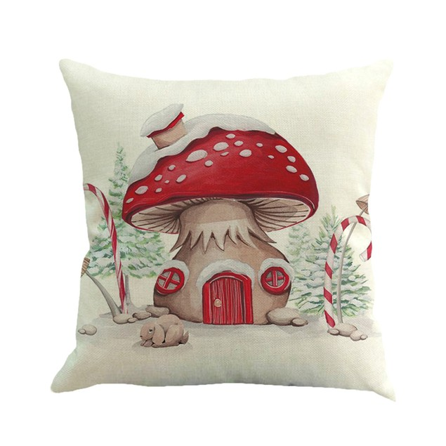 Christmas Printing Dyeing Sofa Bed Home Decor Pillow Cover Cushion Cover M
