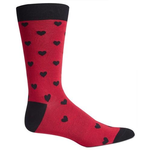 Bar III  Men's Heart Socks  Medium Red Size Regular