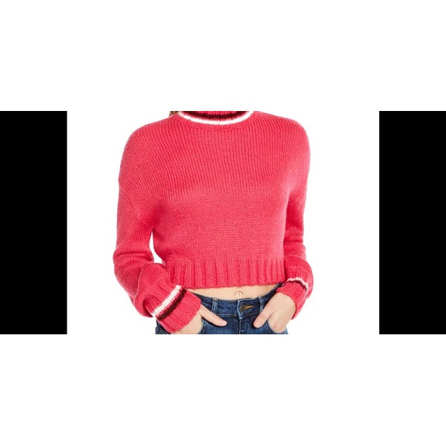 Planet Gold Junior's Turtleneck Cropped Sweater Pink Size Small