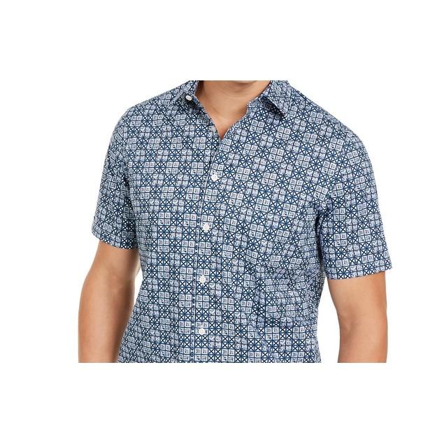Tasso Elba Men's Stretch Geometric Tile-Print ShirtNavy Size Small