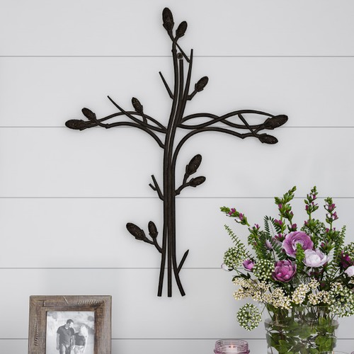 Metal Wall Cross with Decorative Intertwined Vine Design- Rustic