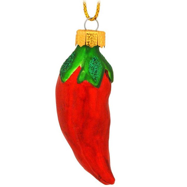Chili Pepper Glass Ornament Red Christmas X-Mas Jalapeno Chipotle Spicy