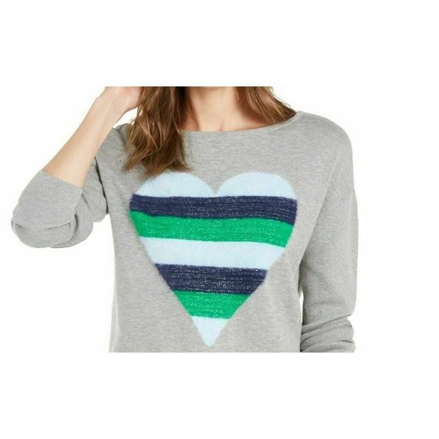 Maison Jules Women's Heart-Motif Tunic Sweater Gray Size Large