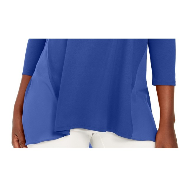 JM Collection Women's Mixed-Media Studs Top Blue Size Large