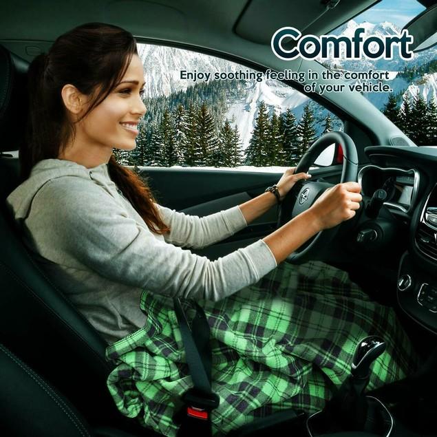 Zone Tech Car Heated Fleece Electric Blanket 45 Minute Timer Green Plaid