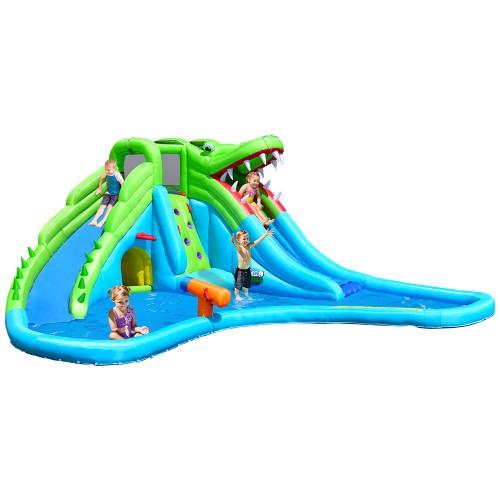 Costway Inflatable Kid Bounce House Dual Slide Climbing Wall Splash Pool w/
