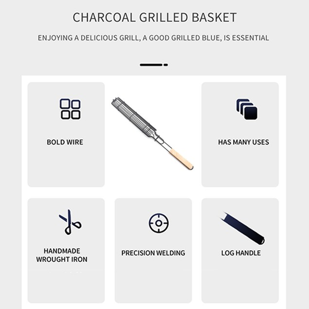 Kabob Grill Basket with Handle Nonstick Rotisserie Basket for Outdoor BBQ