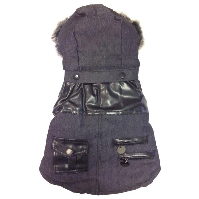 Ruff-Choppered Denim Fashioned Pet Coat