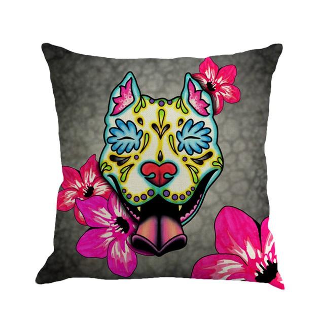 Greyhound Painting Linen Cushion Cover Throw Pillow Case Sofa Home Decor A