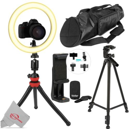 """Vivitar Round LED Light 10"""" + Selfie Wireless Shutter Release + 21"""" Tripod Case + Phone Holder + 60"""" Tripod"""