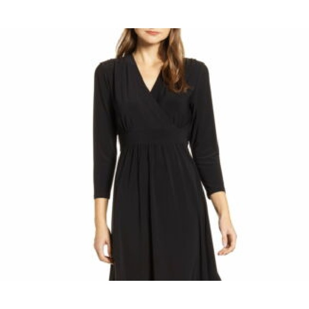 Anne Klein Women's Matte Jersey Fit & Flare Dress Black Size Small