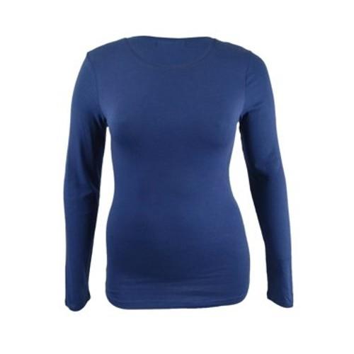 Planet Gold Juniors' Long-Sleeve T-Shirt Blue Size Small