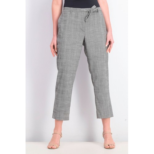 DKNY Women's Petite Belted Essex Ankle Plaid Pant Gray Size 6