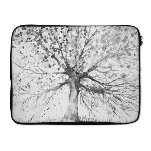 "EmbraceCase 17"" Ink-Fuzed Laptop Sleeve-Black & White Watercolor Vivid Tree"