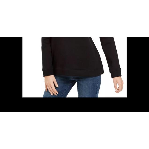 Karen Scott Women's Embellished Sweatshirt Black Size Petite Small