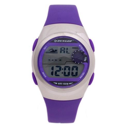 Dunlop DUN206L09 Plastic Case Purple Rubber Mineral Digital Watch for Girls Quartz Watch
