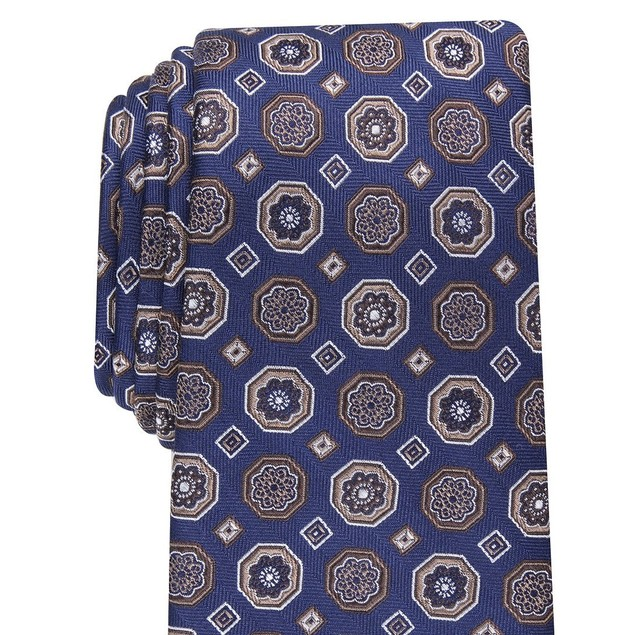 Tasso Elba Men's Classic Medallion Silk Tie Navy Size Regular