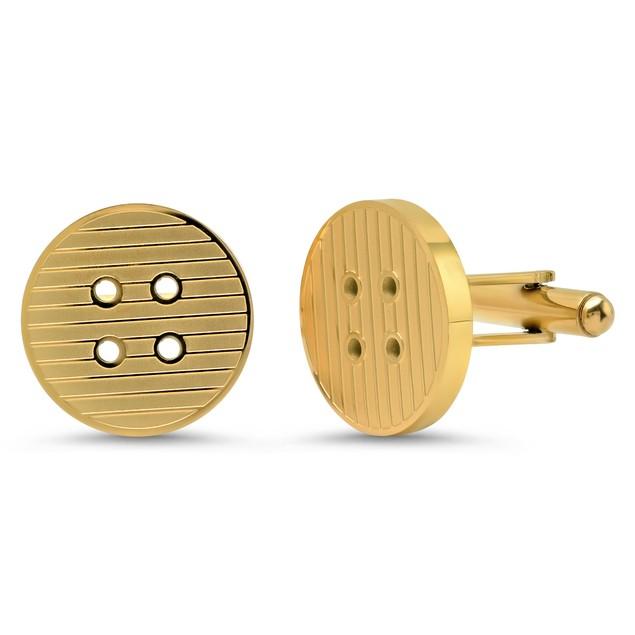 Men's 18k Gold Plated Stainless Steel Button Cufflinks
