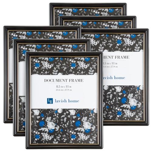 """6-Pack Document Frame 8.5"""" x 11"""" - Black Plastic"""
