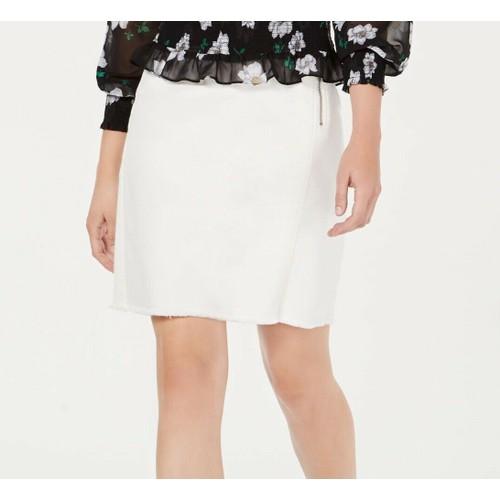 Bar III Women's Skirt Straight Frayed Hem Mini Ivory Size 6