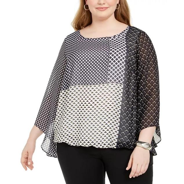 Alfani Women's Plus Size Printed Angel-Sleeve Bubble Top Navy Size 1X