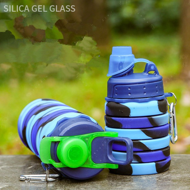 Unisex Silicone Collapsible Sports Telescopic Cup Outdoor Travel Bottle Portable Cold Water Bottle