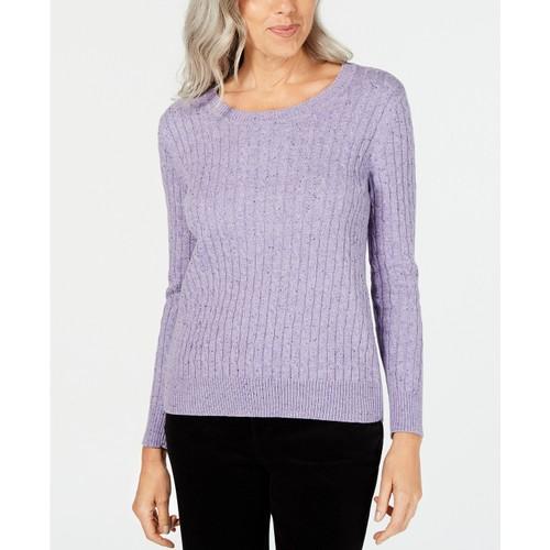Karen Scott Women's Cable-Knit Sweater  Purple Size Medium