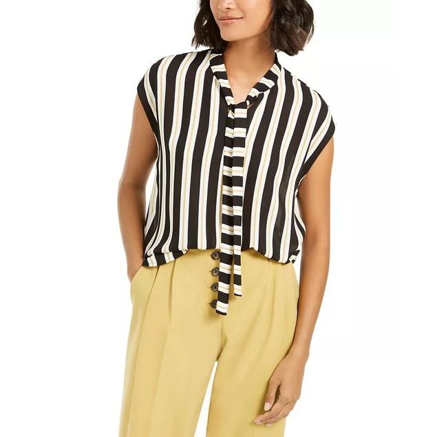 Bar III Women's Striped Tie Neck Blouse Black Size X-Small