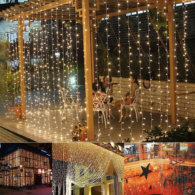 3M 300-LED Warm Romantic Outdoor Decorative Curtain String Light