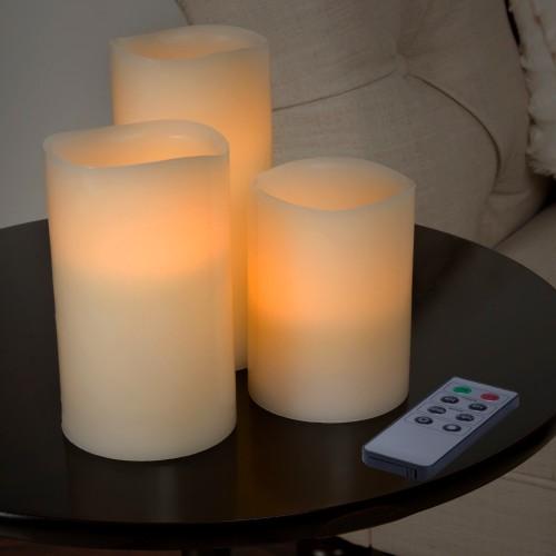 Lavish Home 3 Piece LED Flameless Candle Set with