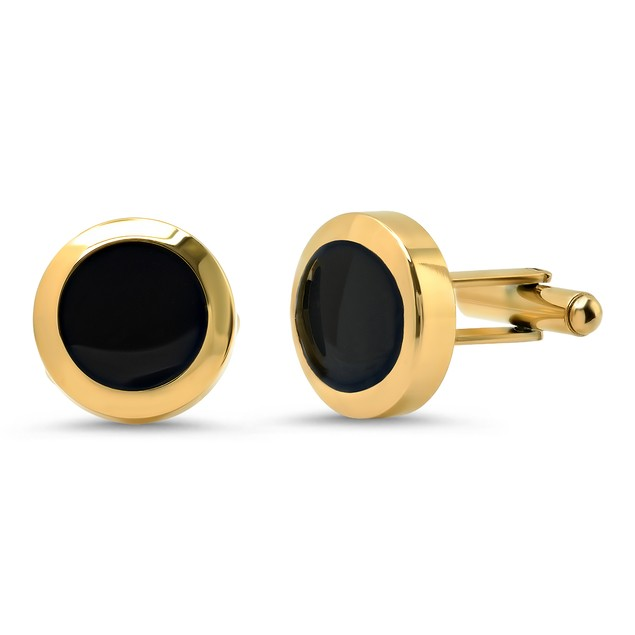 Men's Stainless Steel Black and Gold Plated Cufflinks