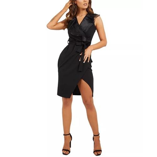 QUIZ Women's Ruffled Wrap Dress Black Size 8