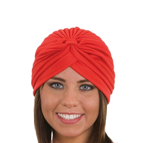 Red Spandex Pleated Turban Adult Psychic Genie Hat Fortune Teller Costume