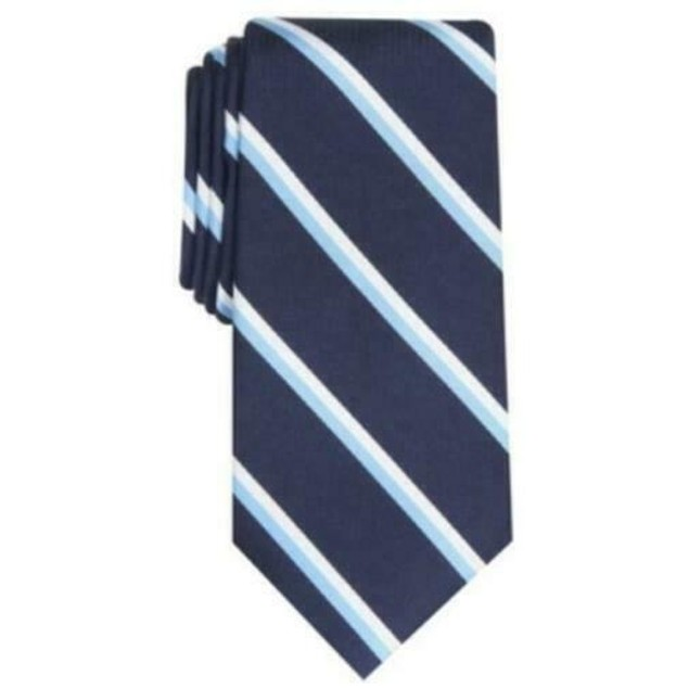 Club Room Men's Classic Stripe Tie  Dark Blue Size Regular