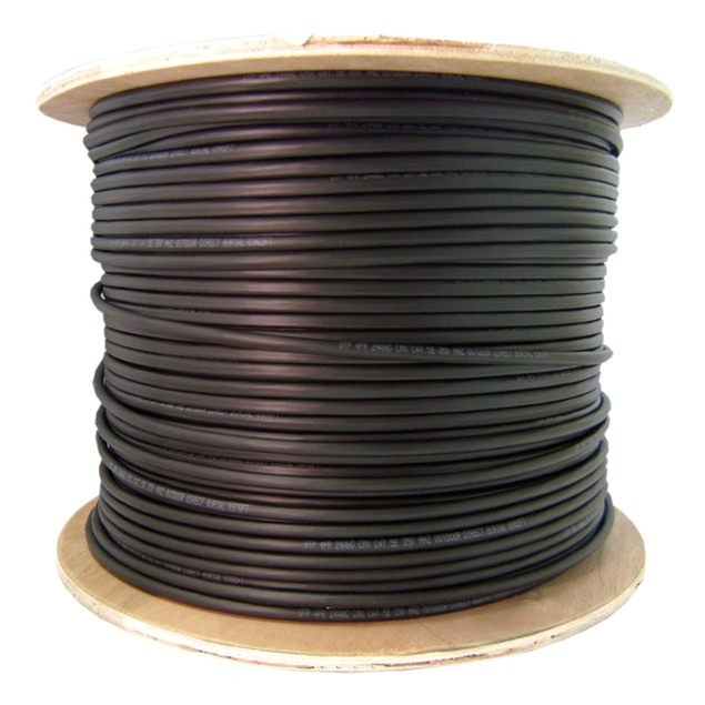 Direct Burial/Outdoor rated Cat5e Black Ethernet Cable  Tape Spool