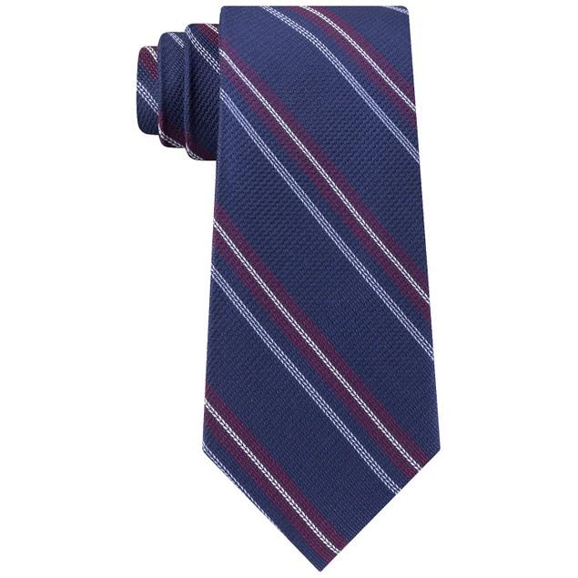 Tommy Hilfiger Men's Classic Textured Stripe Tie Navy Size Regular