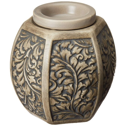 Common Scents Home Scented Carved Laurel Full Size Ceramic Wax Warmer, Grey