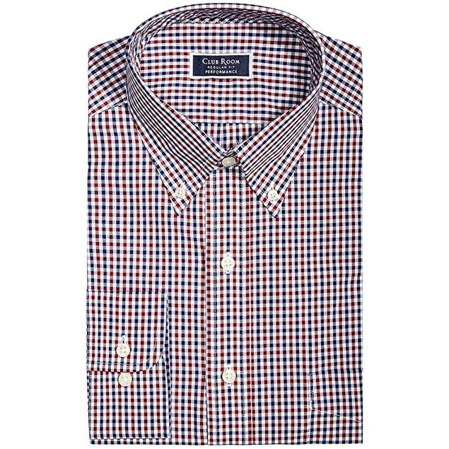 Club Room Classic/Regular Fit Gingham Dress Shirt Wine 16.5x32-33