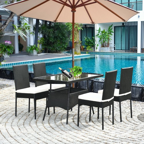 Costway 5PCS Patio Rattan Dining Set W/ Glass Table