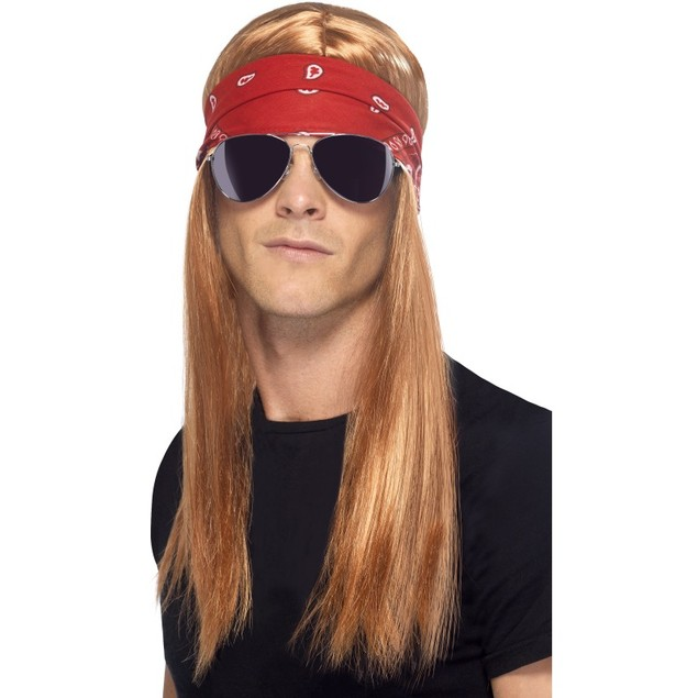 Axl Rose Wig with Bandana and Glasses