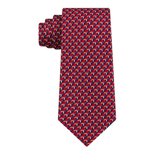 Tommy Hilfiger Men's Classic Small Toucan Silk Twill Tie Red One Size