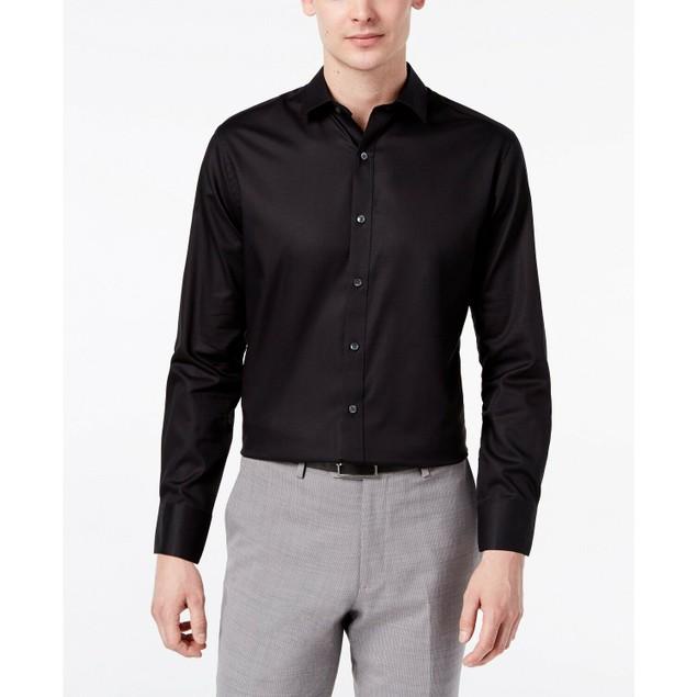 Bar III Men's Slim-Fit Stretch Dress Shirt Black Size 17-34-35